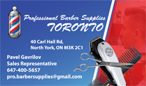 Toronto Professional Barber Shop Supplies Business Cards