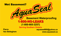 AquaSeal Wet Basement Waterproofing Business Cards