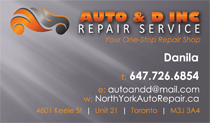 Auto and D Repair Business Cards