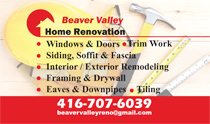 Beaver Valley Home Renovation Business Cards