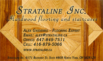 Strataline Inc. Hardwood Flooring and Staircases Business Cards