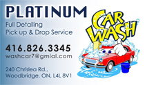 Platinum Car Wash Business Cards