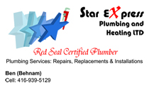 Star eXpress Plumbing and Heating LTD Business Cards