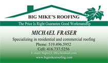 Big Mike's Roofing Business Cards