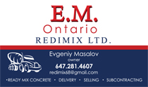 Redimix Concrete Subcontracting Business Cards