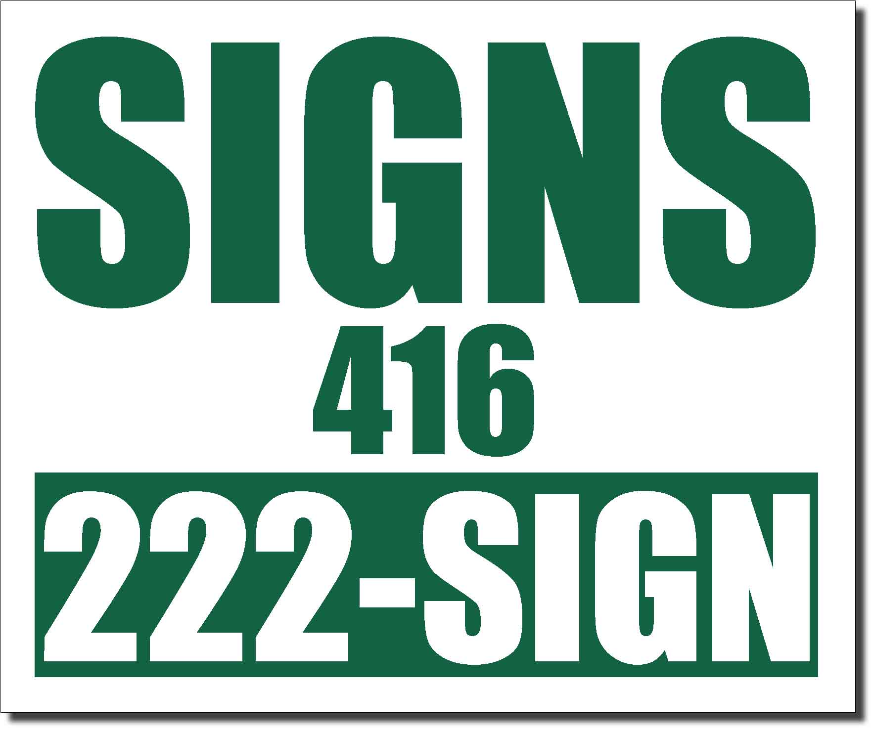 24x20 Renegade Satin Forest Green 342C Color Lawn Bag Signs Print Colour