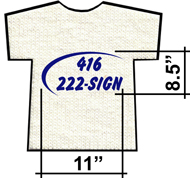 Horizontal screen print dimensions: 8.5 inch by 11 inch