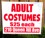Adult Costumes Yard Sign